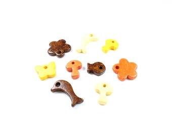 5 charms / pendants in colorful Greek ceramic + / 15 to 26mm