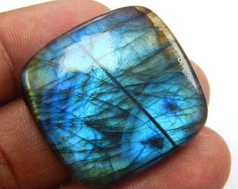 On Shop  Sale 68.50 ct Natural Labradorite loose gemstone Cushion shape 31x32 mm Blue Fire Labradorite on wholesale price