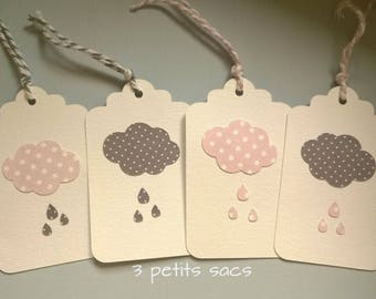 tags white paper, clouds and raindrops. Pink & grey anthracite