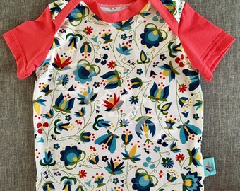 Halterneck floral jersey and coral jersey baby t-shirt