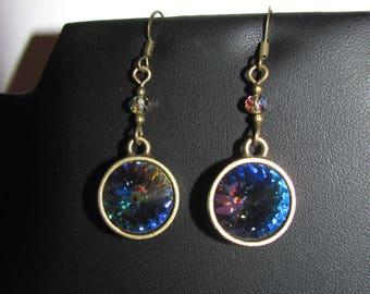 """Rainbow"" Crystal Swarovski (R) dangle earrings"