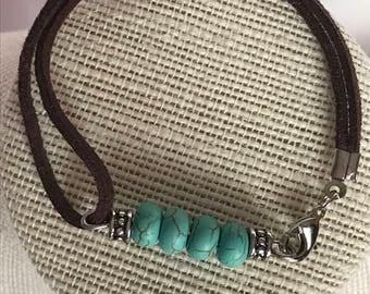 Teal Bracelet, Teal Bead Bracelet, Brown Suede Bracelet, Teal and Silver Bracelet