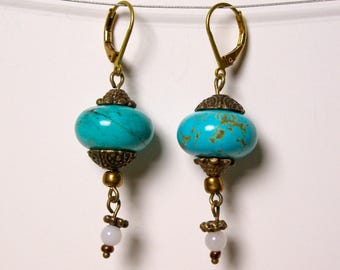 Cat's eye and turquoise earrings