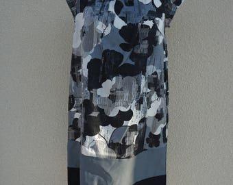 DRESS FLOWER CITY WOMEN GRAY BLACK WHITE 38 AND 40