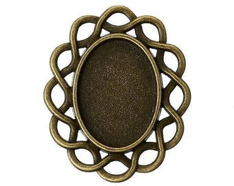 support cabochon ovale bronze 3x2.5 cm