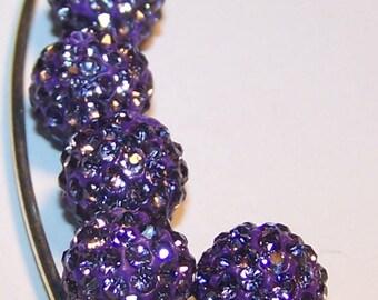 Purple 10mm making shamballa beads