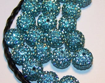 shamballa 10mm turquoise color making beads