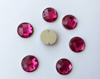 Large rhinestone round 16 mm fuchsia color faceted set of 5 rhinestone thimble sewing pink (V32)