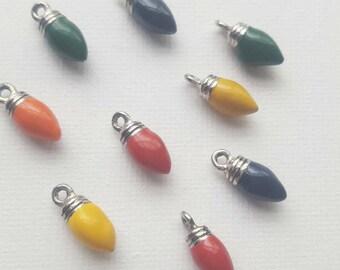 Christmas light bulb charms. colorful light bulbs