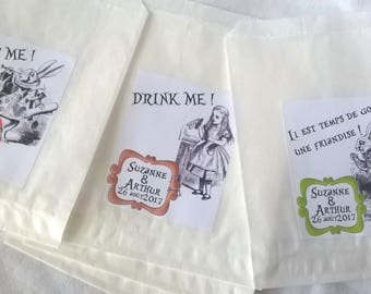 "12 candy bags ""Alice in Wonderland country"" for candy bar-customizable"