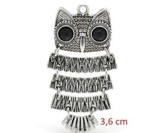 Hinged metal OWL pendant Silver 3.6 x 1.8 cm