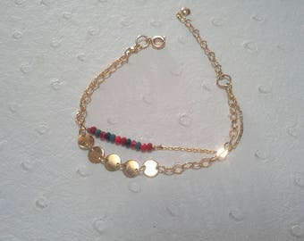 Bracelet double row gold plated gold filled