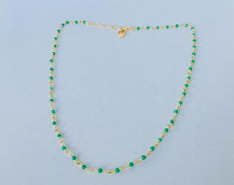 Beaded chain 24 k gold plated green chalcedony Choker necklace