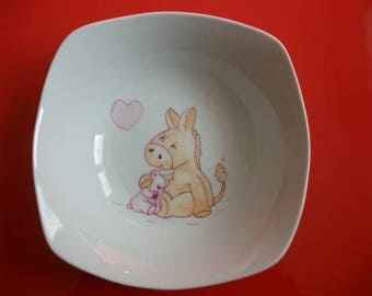 "Child's porcelain plate from Limoges ""Hug"""