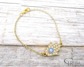 Hamsa Bracelet, Evil eye Bracelet, Hamsa Jewelry, Hamsa, Protection Bracelet, Hamsa Charm, Hamsa hand Bracelet , Gold Hamsa Bracelet