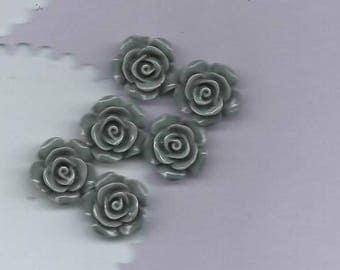 set of 6 grey resin roses to stick