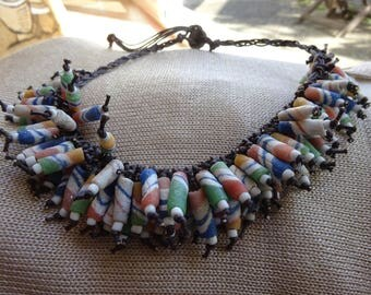 Ethnic African style necklace. Brown cotton, ceramic tricolor pearls