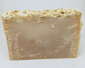 Oatmeal Milk Honey Vegan 4oz Soap Bar, Topped with Oatmeal