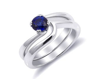 Natural Blue Sapphire 0.72 carats set in 14K White Gold