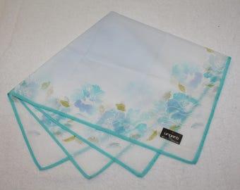 Ungaro Paris Blue Floral Design Handkerchief 16.75 x 16.75
