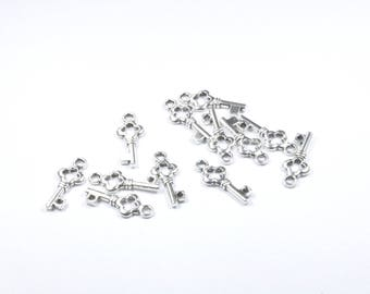 BR798 - Set of 12 small silver metal key charms