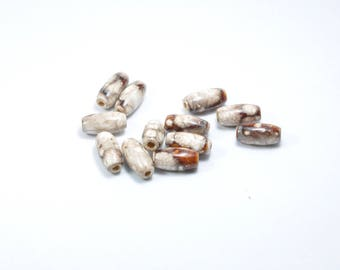 PE252 - Set of 12 Brown wooden beads