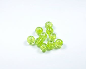 PE61 - Set of 10 Crackle glass beads