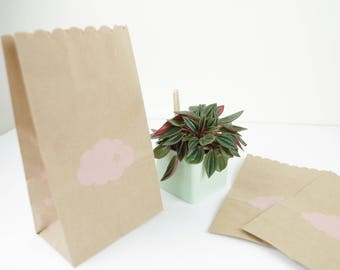 Purse gift bags (x 5) with bellows cm gifts, jewelry, food 11x19x6.5 pink cloud printed kraft paper