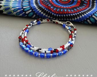 Fancy Crystal beaded bracelet blue red and white