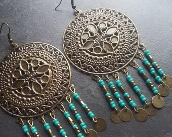 Boho earrings bronze brass, turquoise and bronze Miyuki large prints.