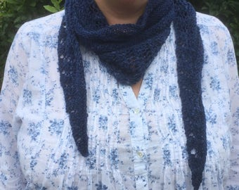 Navy blue lacy scarf, hand knitted in handspun merino wool
