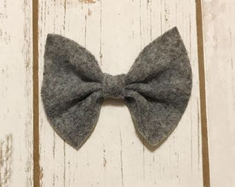 Heather Gray Felt Bow