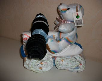 Motorcycle, Christmas, christening, baby gift diaper cake shower, birth.
