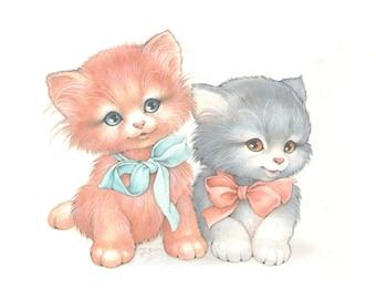 Little baby kittens illustration