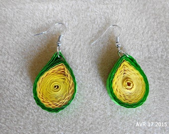Embossed in green and yellow quilling earrings