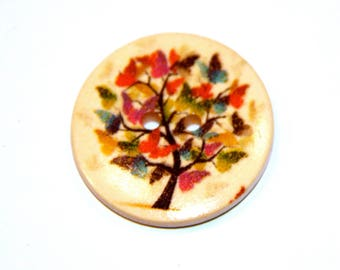SET OF 5 COLORFUL TREE WOOD BUTTONS