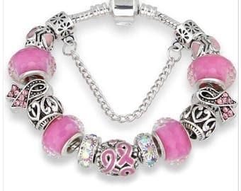 Breast Cancer Awareness 18cm Charm Bracelet