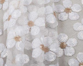 Daisy Sequin Fabric Polyester Mesh Fabric Floral Fabric Apparel Fabric Vintage Fabric Home Decor Fabric Craft Supplies Fabric By The Meter