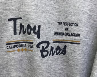 Vintage!!! Troy Bros Long Sleeve Pullover Spellout