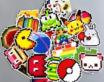 Pixel Pack Stickers (x25) - Vinyl - Pokeball Sticker - Mario Sticker - Heart Sticker - Doge Sticker - Pac Man Sticker - Cut The Rope Sticker