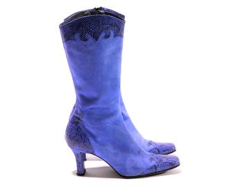 Blue suede contrast mid calf heeled boots