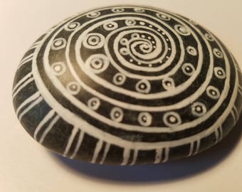 Black and White mandala rocks