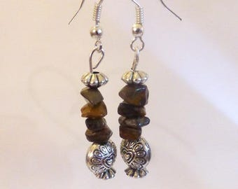 Earrings Silver earrings with Tiger eye