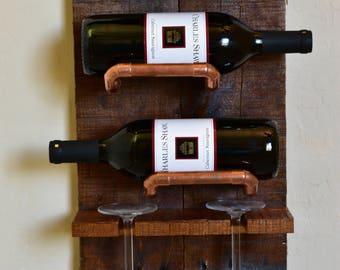 3 bottle, 2 glass wall mounted wine rack