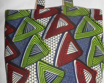 Large African wax geometric lined burlap