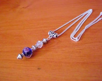 Chic retro necklace Silver 925, blue purple and pink Lampwork bead