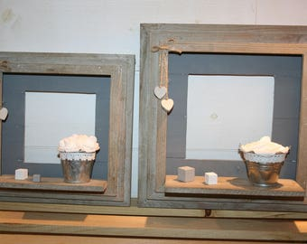 2 frames hearts gray taupe roses