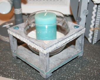 """candle holder white turquoise and gray wooden """"aged"""" wood and glass and the hearts"""