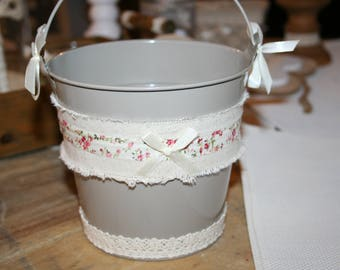 liberty floral taupe lace and linen zinc planter