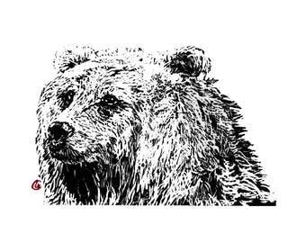 Linogravure originale, linocut, ours, gravure, illustration, original, , tableau, pour sous-verre